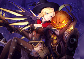 Mercy Witch with Reaper (Overwatch 2016 halloween) by Lochris