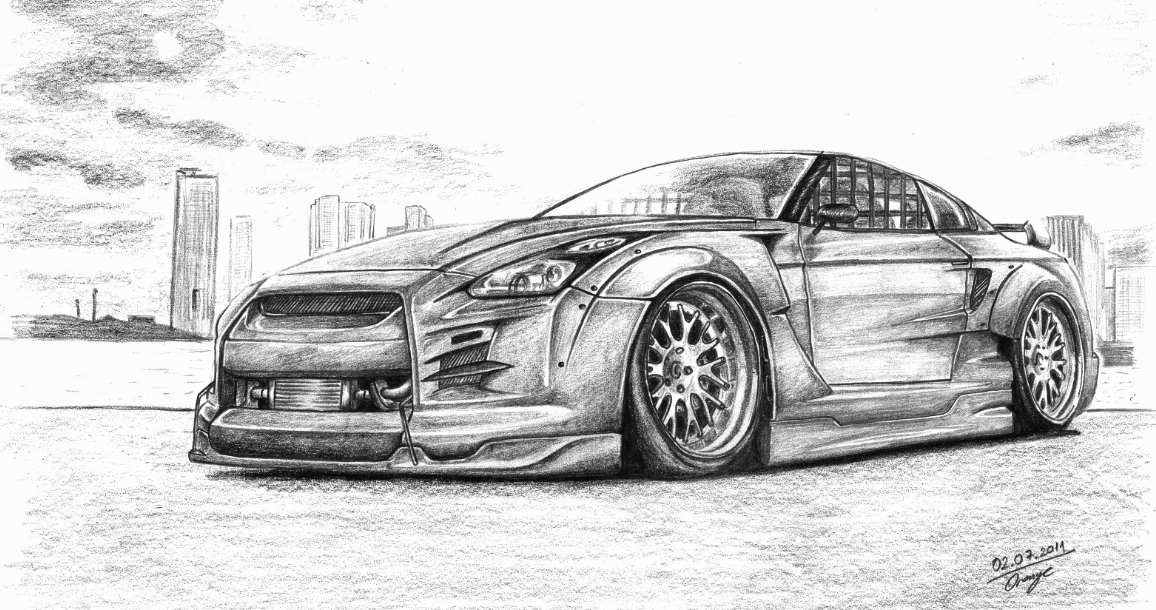 Line Drawing Nissan Gtr : How to draw nissan gtr