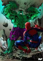 Spider-Man VS The Hulk by richyunspoken