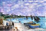 Landscape lesson #1 : Seascape with cloudy sky