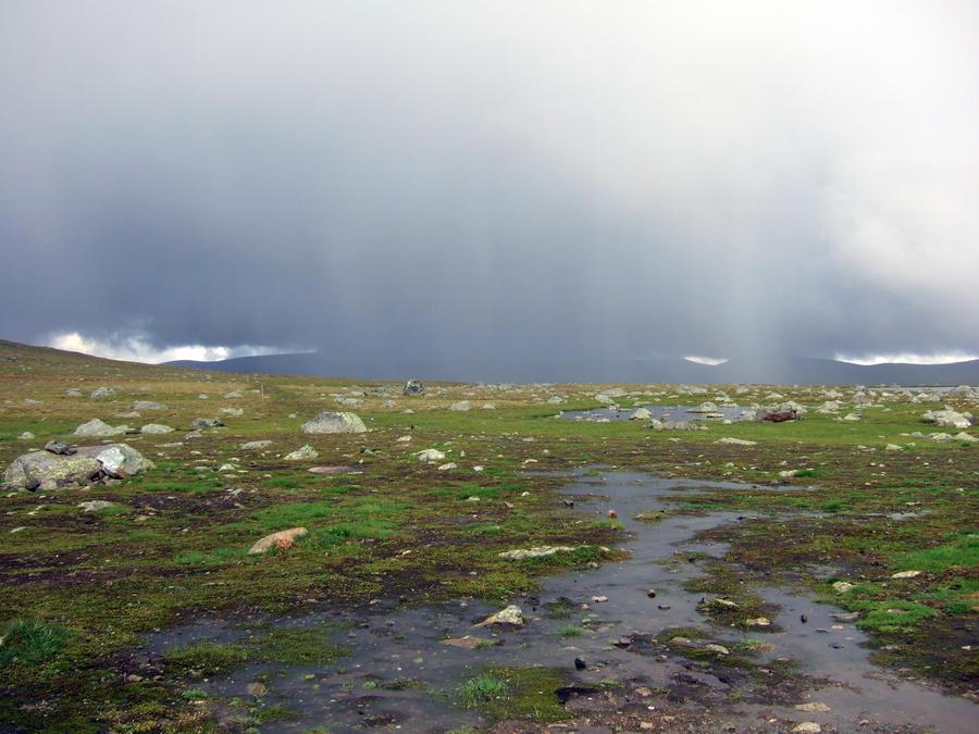Rainy mountain scenery