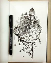 Doodling a floating city by Rogaan