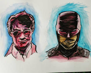 Experimenting watercolor with Daredevil by Rogaan