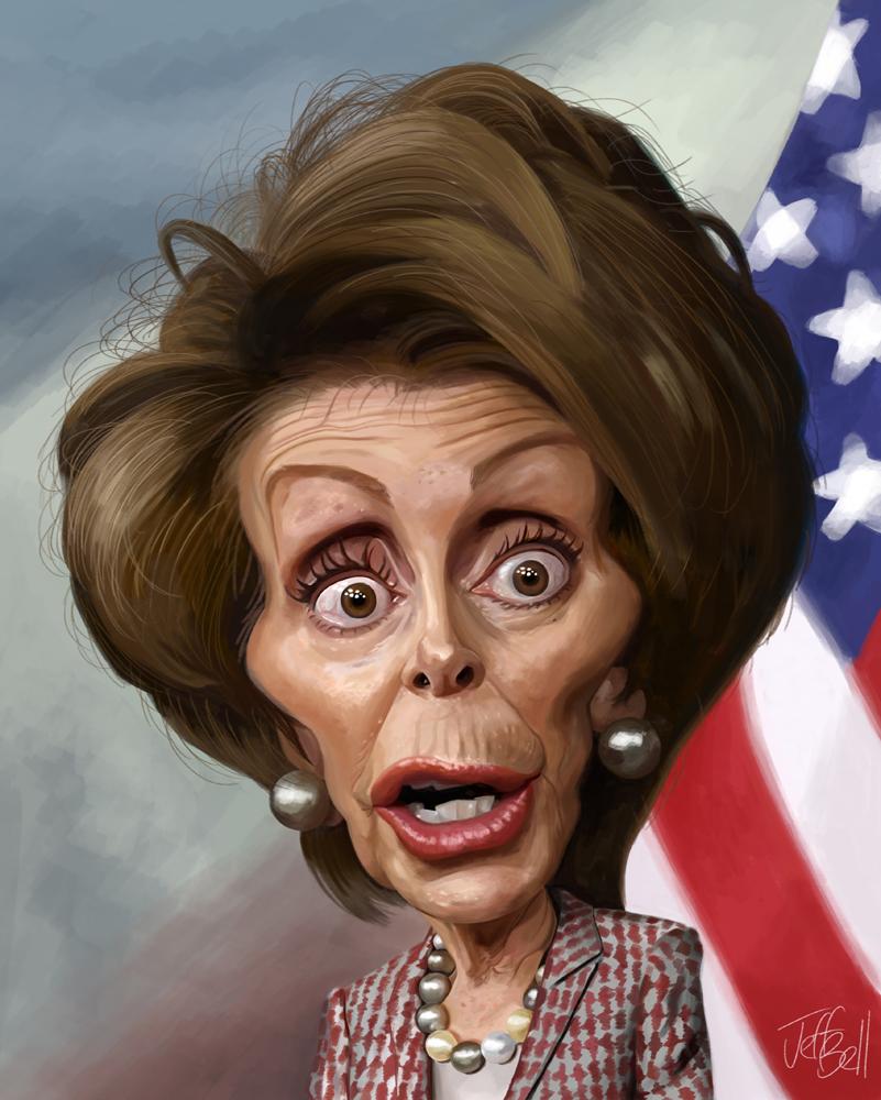 Nancy Pelosi caricature by Jeff Bell