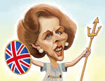 Caricature of Margaret Thatcher by Jeff Bell