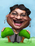 Caricature of Metiria Turei by Jeff Bell