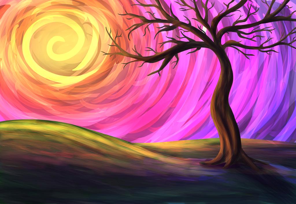 color landscape tree by SOSArtStuff