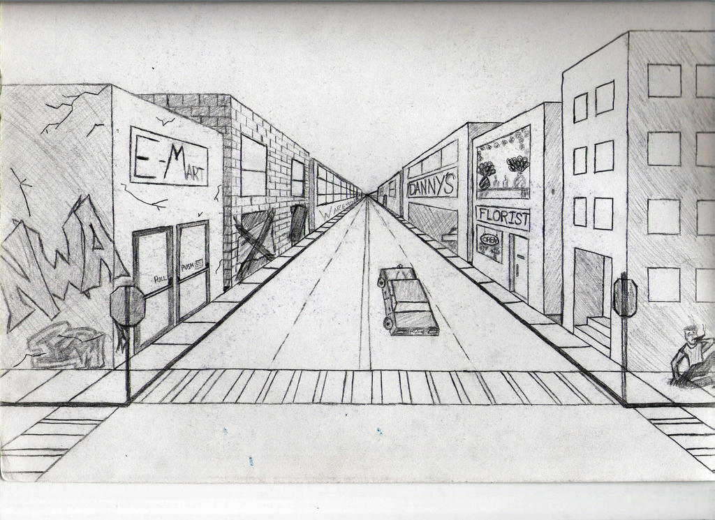 One Point Perspective Drawing For Interior Design House