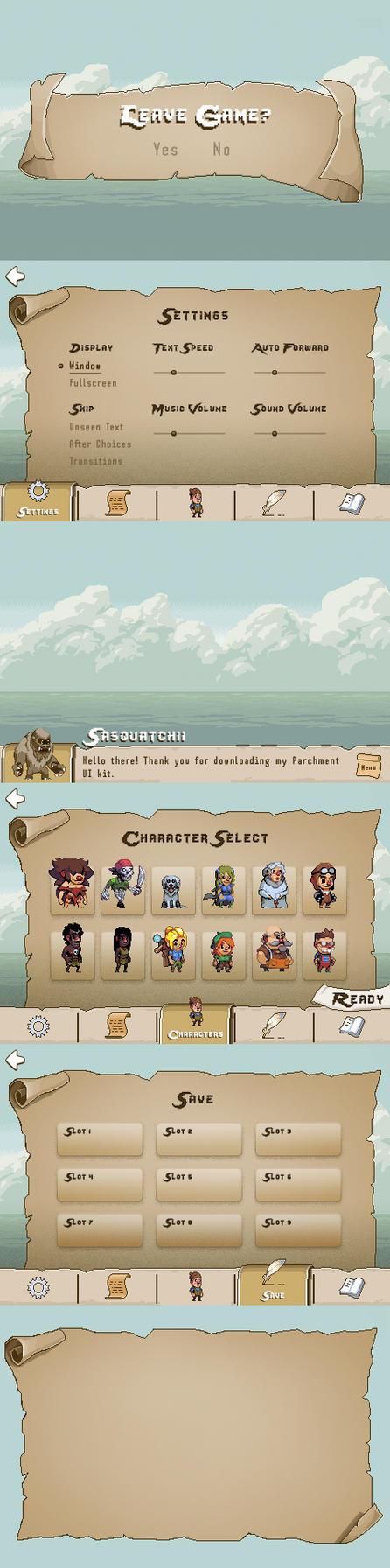 Pixel Parchment UI by sasquatchix