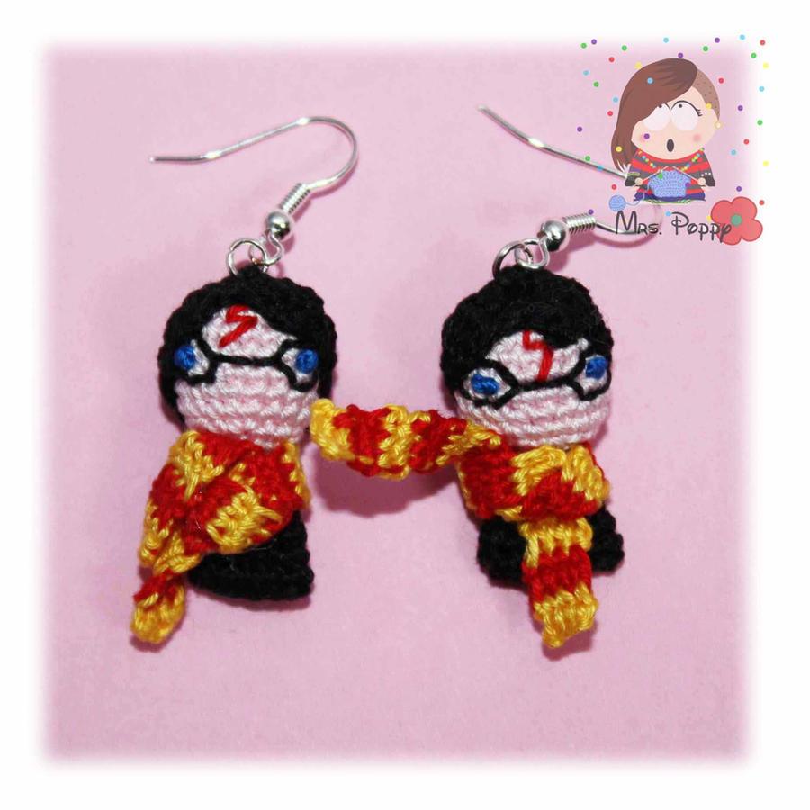 Amigurumi Harry Potter : Harry Potter - Amigurumi earrings crochet by MrsPoppy77 on ...