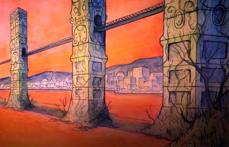bridge of skulls by MallonIllustration