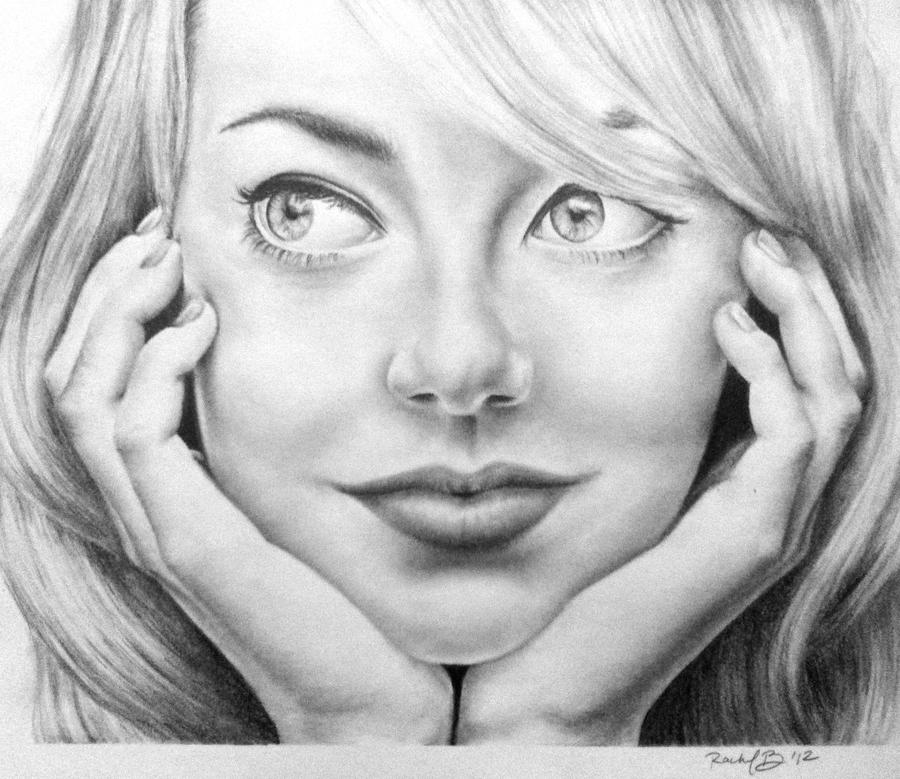 Pencil drawing of emma stone by rachbeth