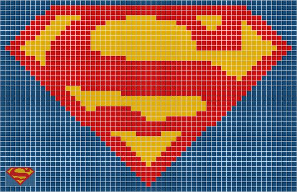 Super Man Pixel Art Grid