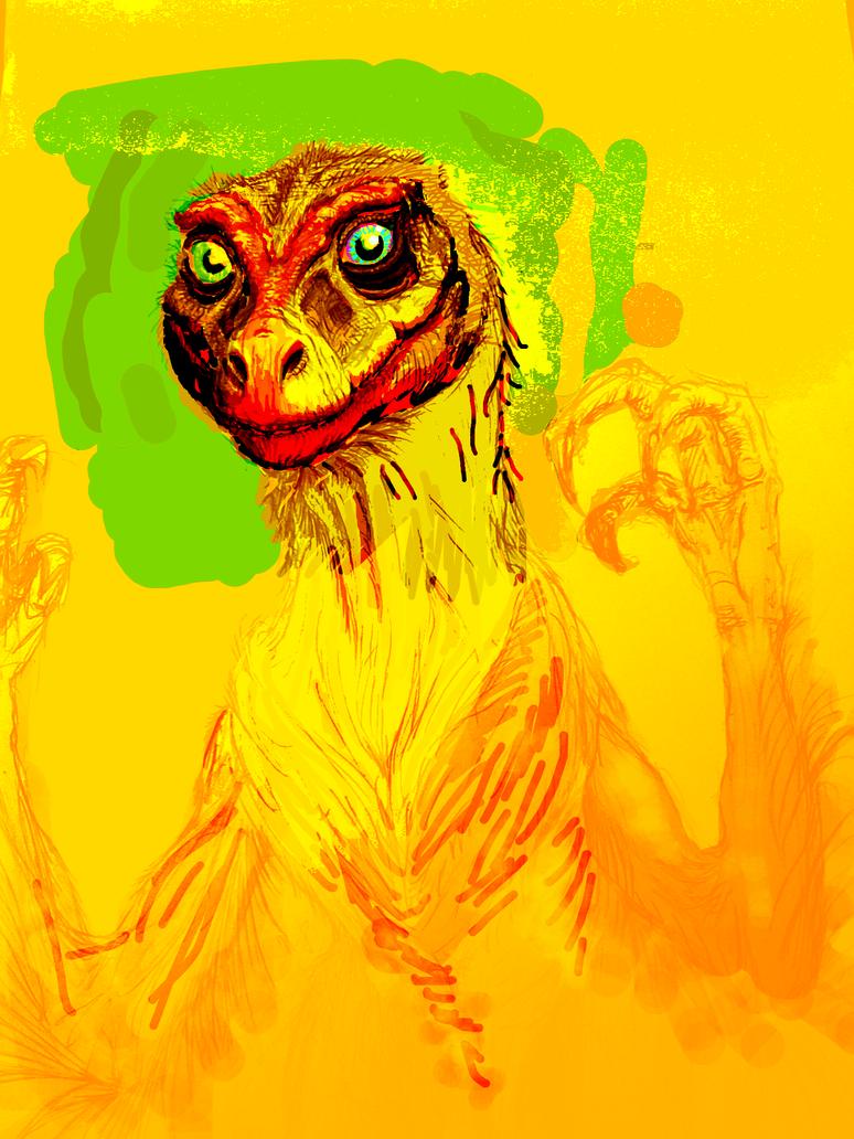 Fluffy Raptor2crop by scoobyisadog