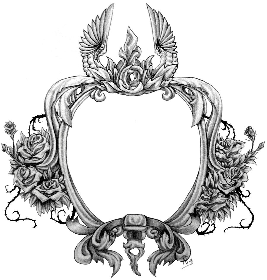 Tattoo designs of fonts tattoo stencilsorg picture frame tattoo