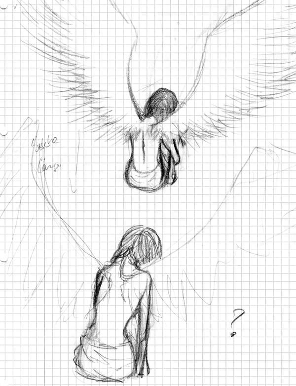depressed angel drawings - photo #9