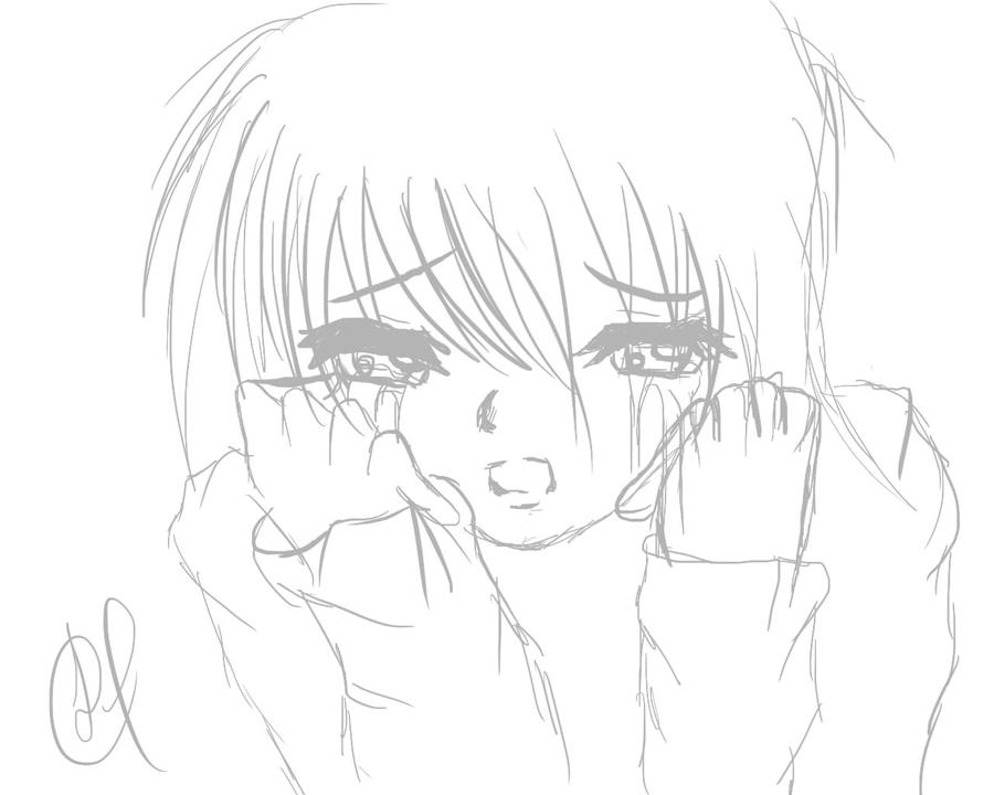 Sad girl lineart