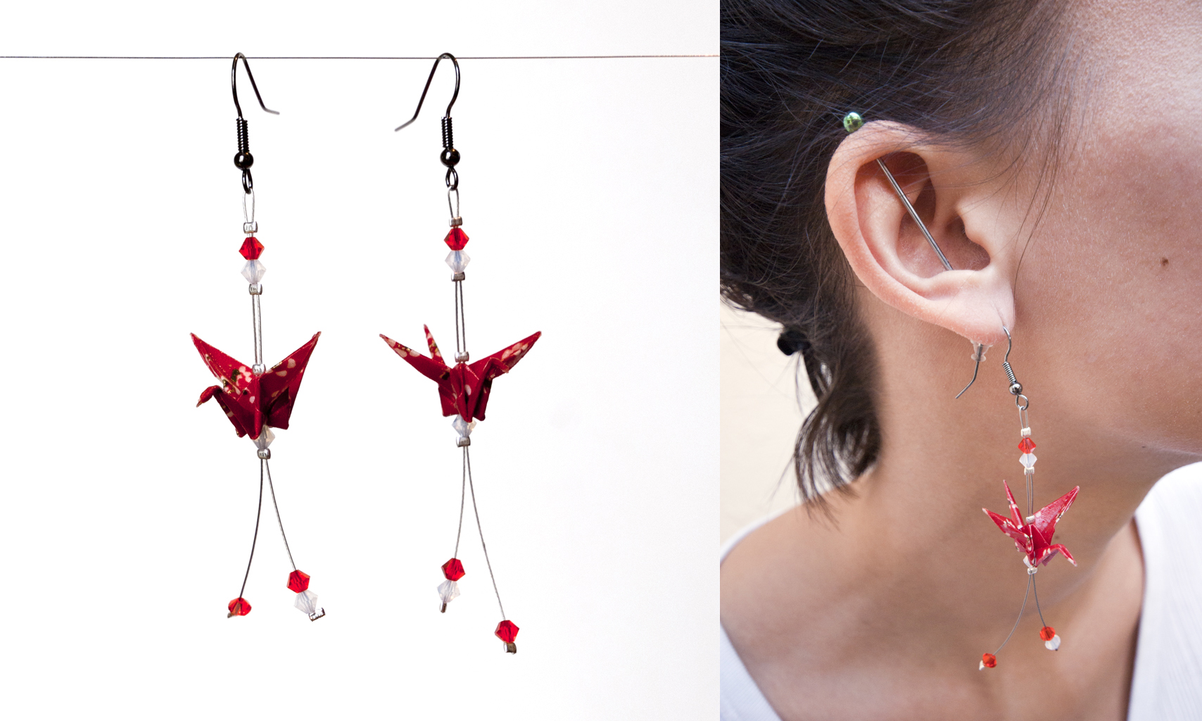 Origami Crane earrings by walking-cripple