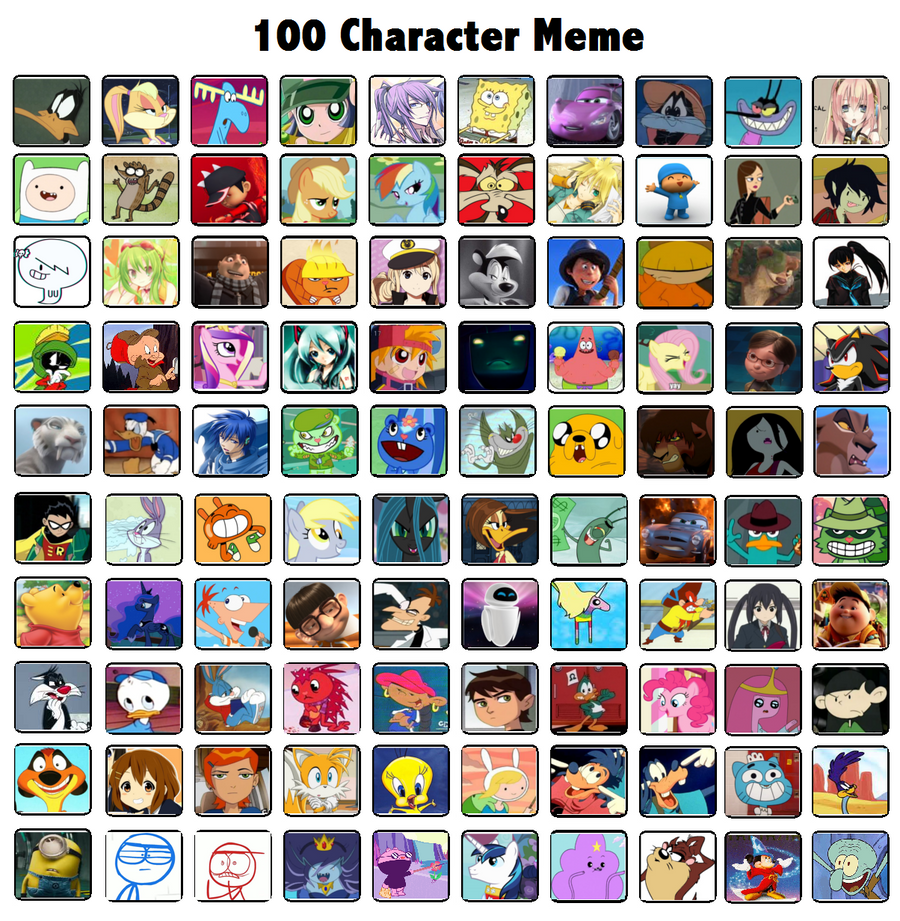 Cartoon Characters 3 100 Pics : Character meme by penelope six on deviantart