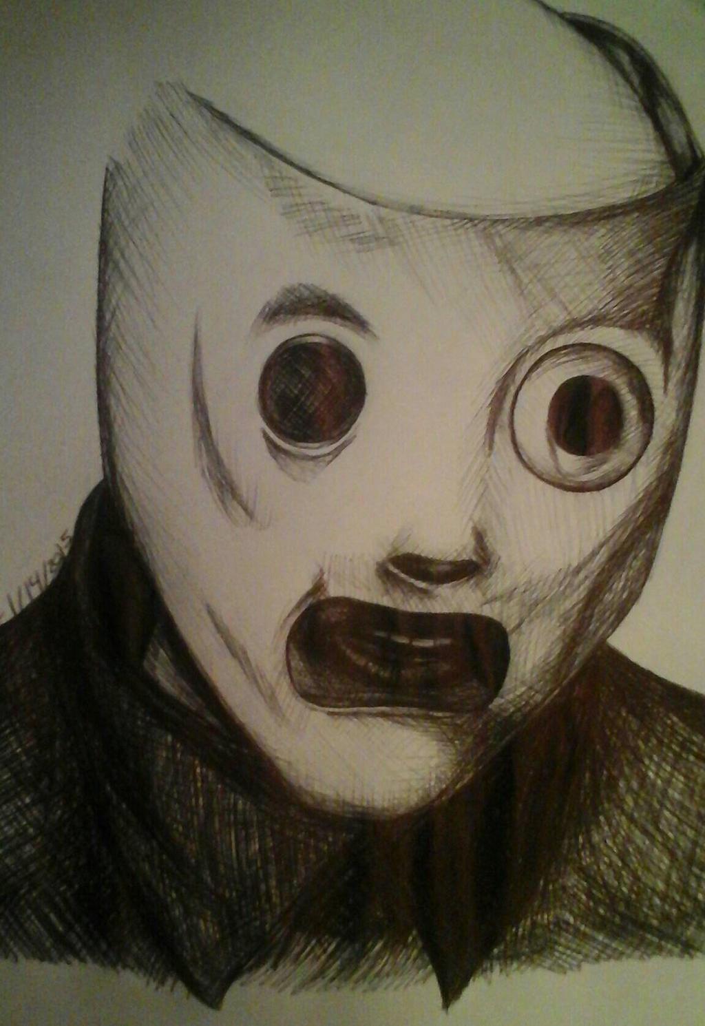 slipknot corey taylor mask ballpoint pen drawing by