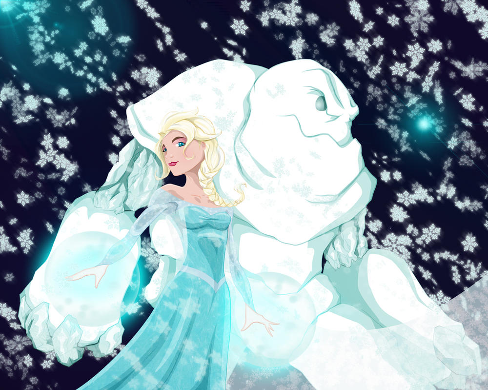 Elsa and Marshmallow by WeaponXIX