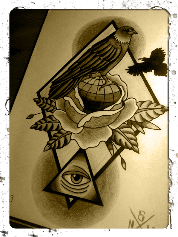 raven tattoo sketch by smurfpunk