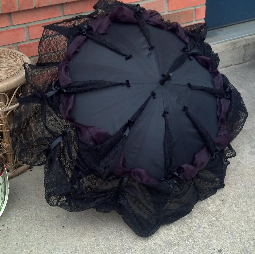 Gothic Neo Victorian Lace Trimmed Parasol Umbrella by ...