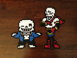 Sans and Papyrus Overworld Perler Sprites by MrsEveTwo