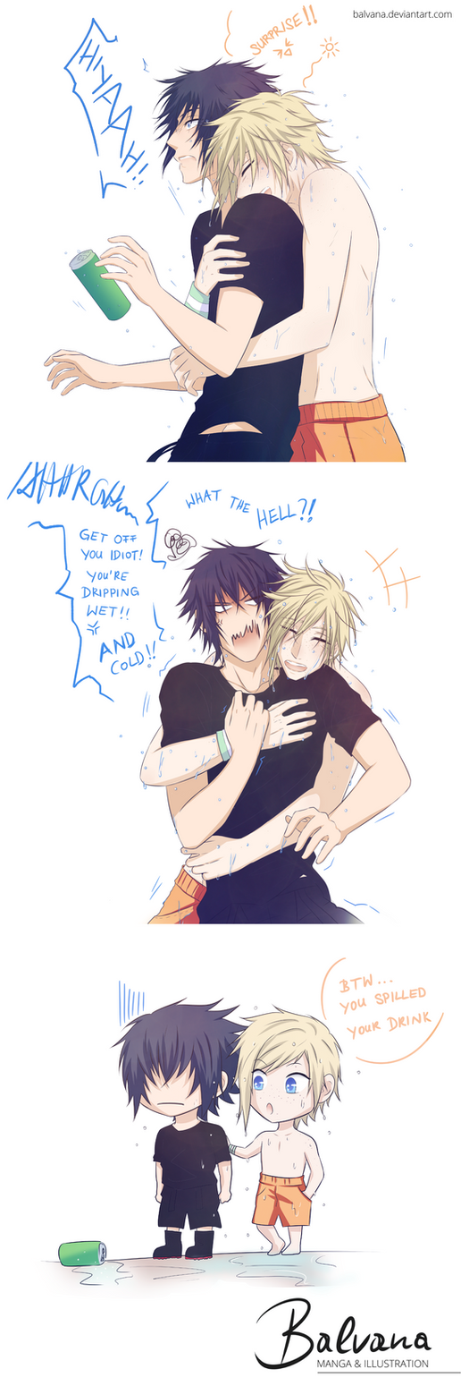 FFXV Comic Strip ~ A Dripping Wet Surprise Hug xD by balvana