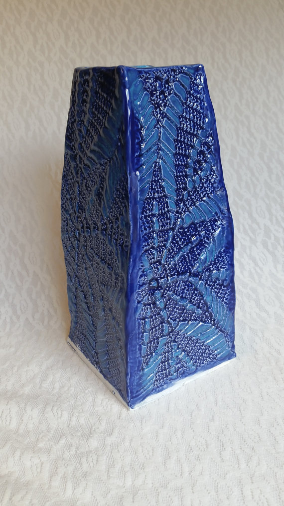 Blue Ceramic Slab Vase By Beththo On Deviantart