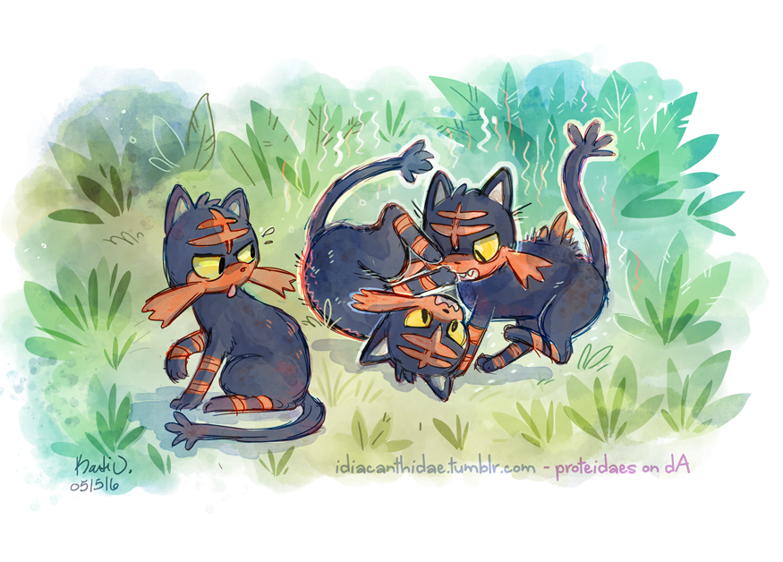 Pokemon - Feisty Littens by proteidaes