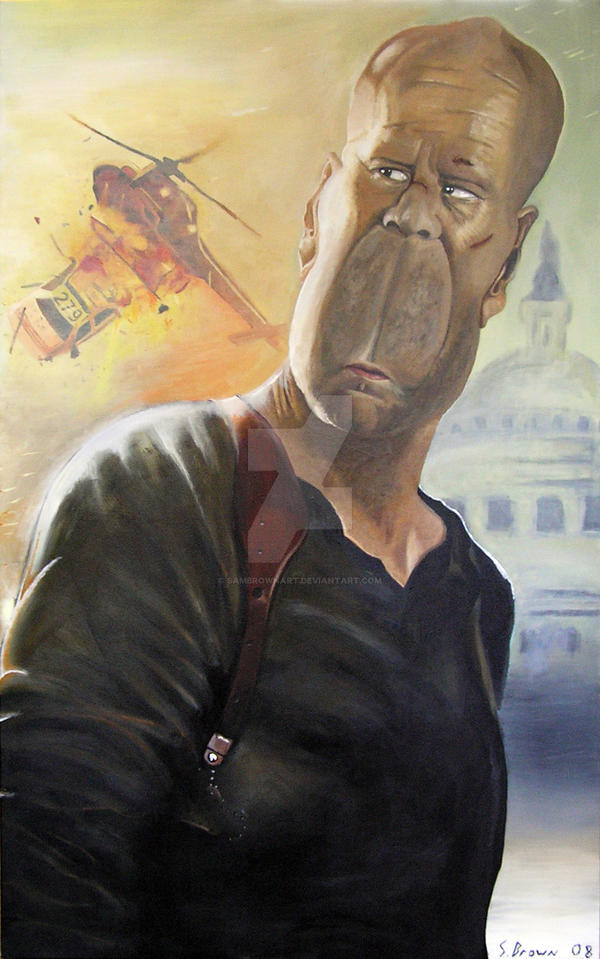 Bruce willis caricature by SamBrownArt