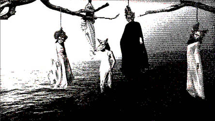 women in masks hanging from trees
