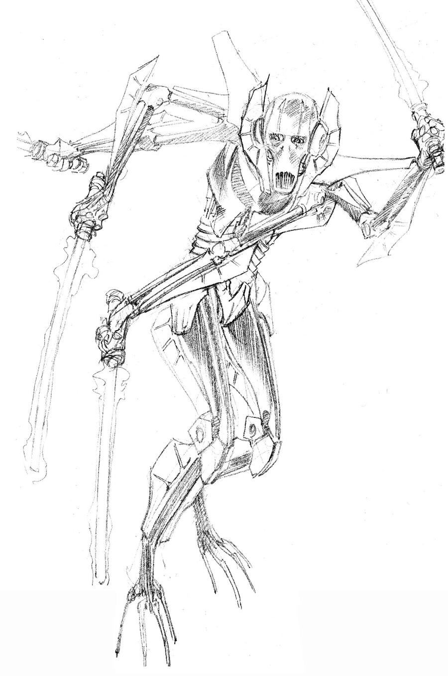 Daily sketch general grievous by paul moore on deviantart for General grievous coloring page