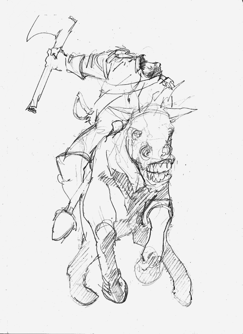 how to draw the headless horseman