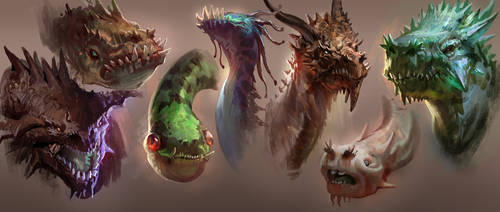 Dragon Heads by MikeAzevedo