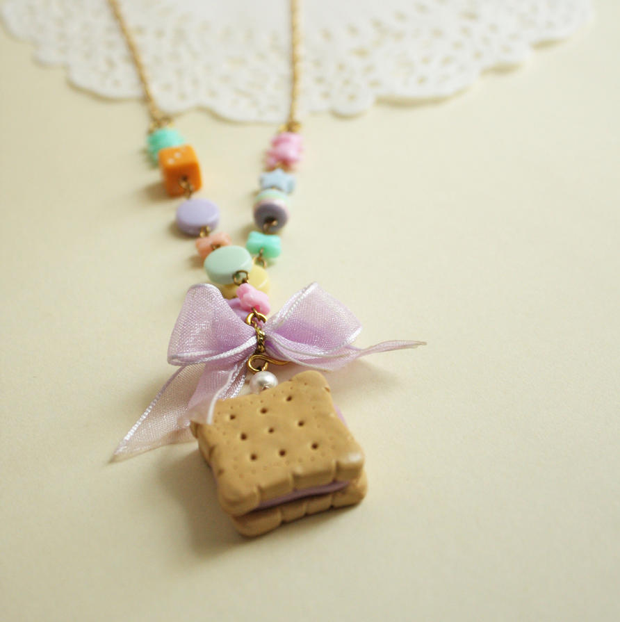 Tea Party Biscuit Polymer Clay Necklace by breatheday
