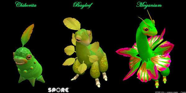 SPORE  ---  Chikoritafamily by cristallic-suicune