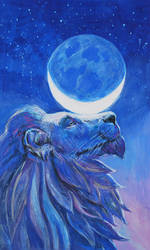 Lion and moon by Lusidus