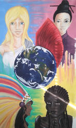 around the world in acryl on canvas