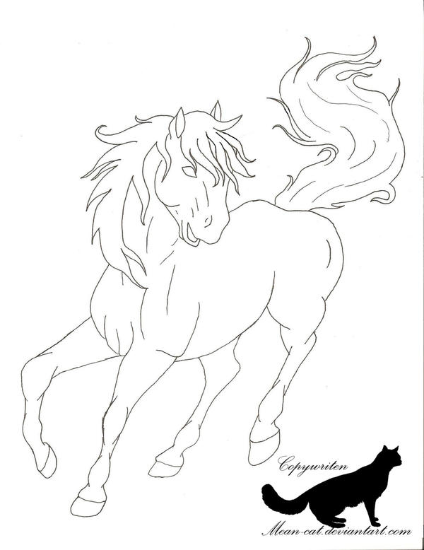 Lines Are Used In Art To Indicate : Horse line art by mean cat on deviantart