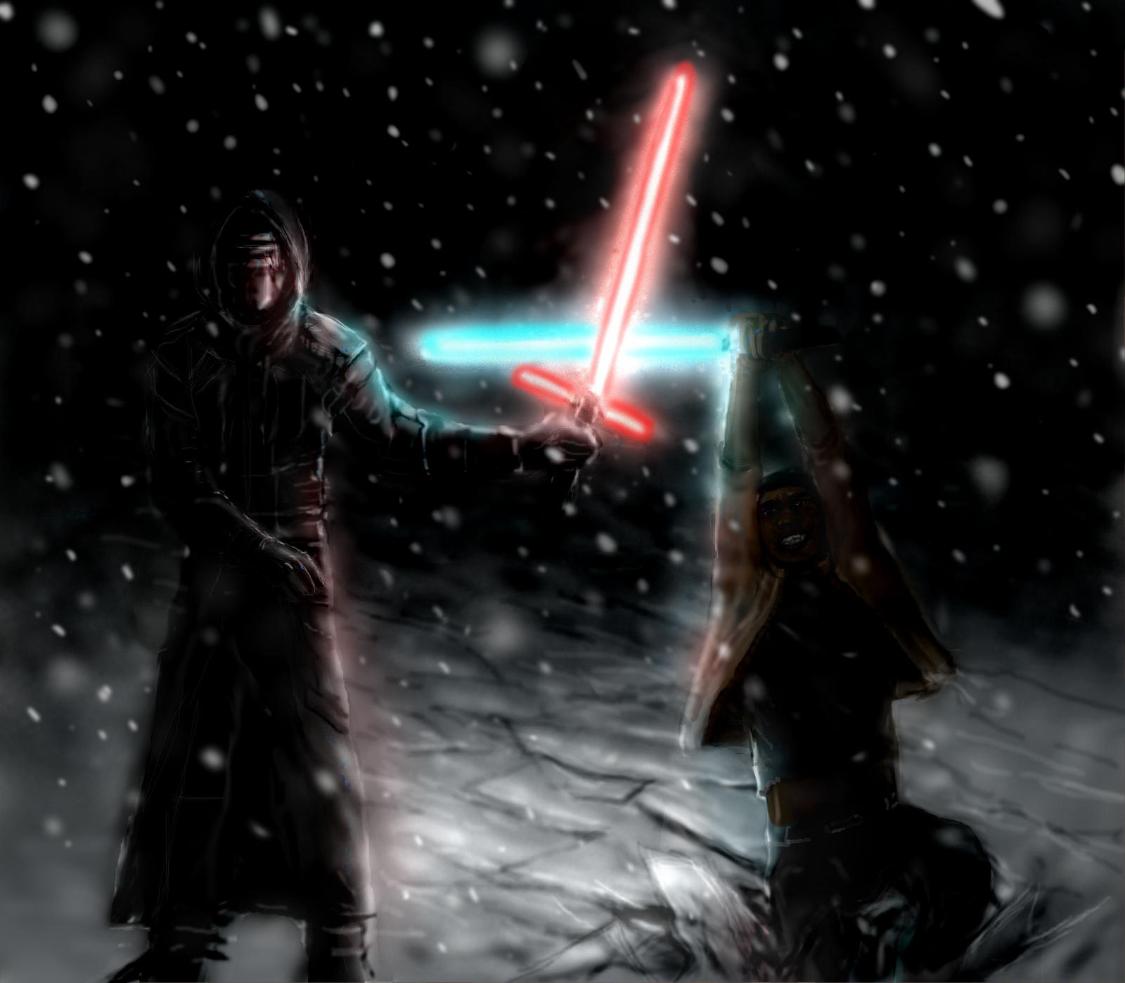Kylo Ren Fights Finn Star Wars By Modji 33 On Deviantart
