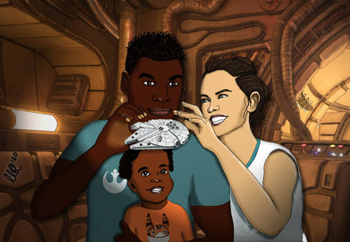 Finn, Rey and their child on the Falcon