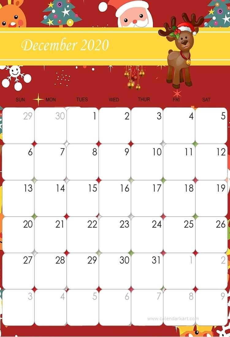 Cute Christmas December Calendar 2020 Printable December 2020 Cute Calendar by calendarkart on DeviantArt