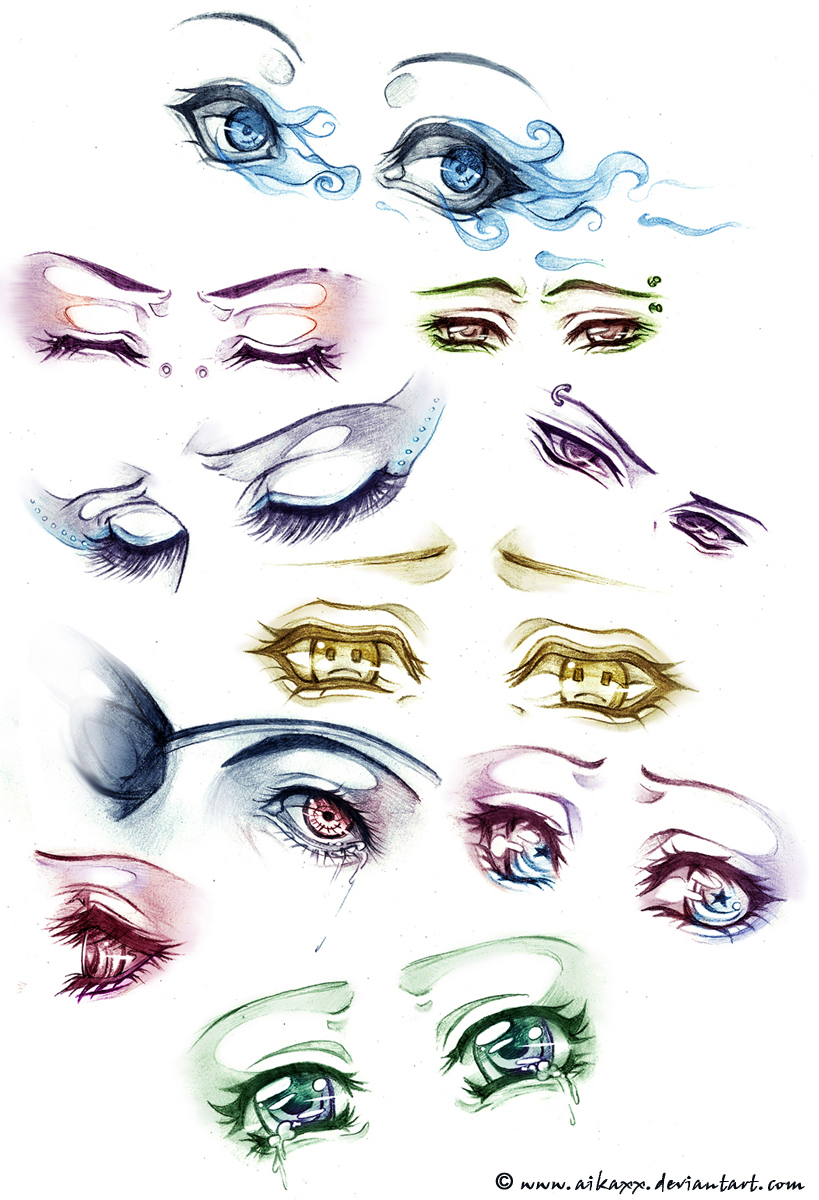 sad and angry anime-eyes study by AikaXx
