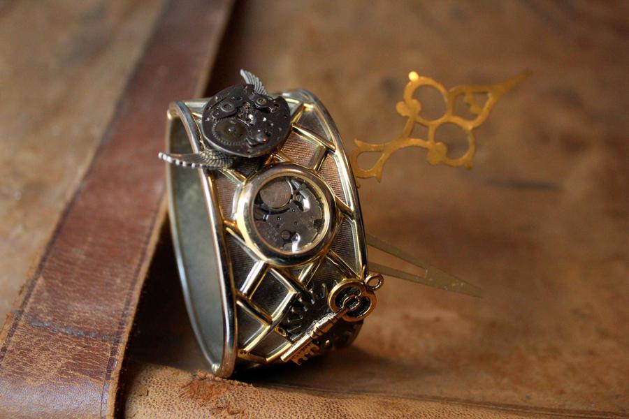 Gold Steampunk Bracelet by medievalfaery