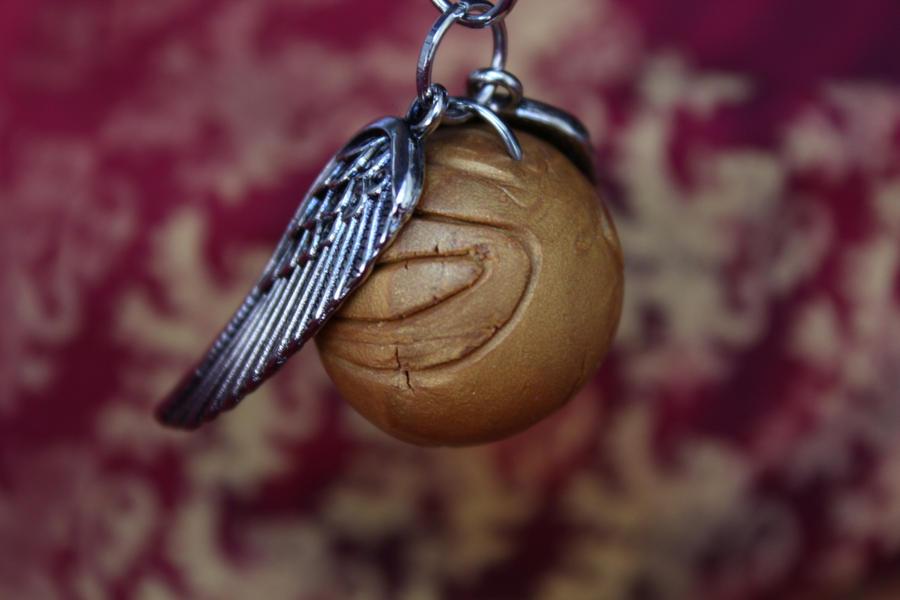 Harry Potter Golden Snitch Necklace by medievalfaery