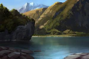 Practice - Mountain Lake by zombat