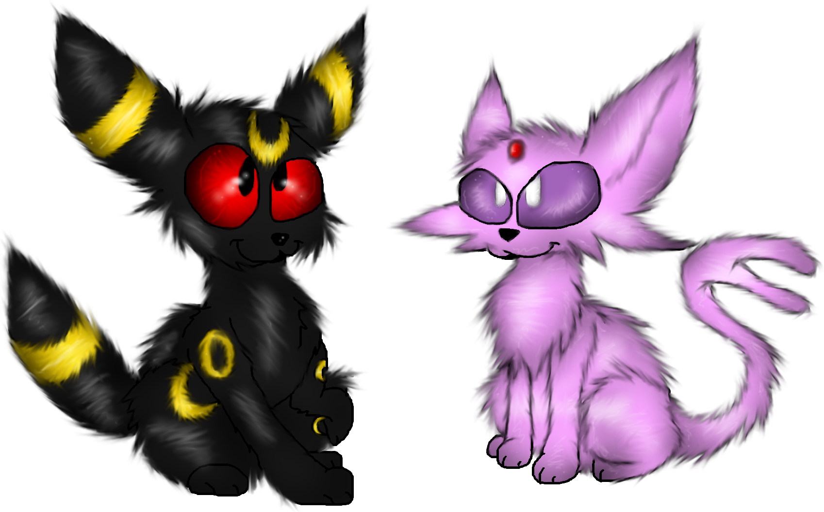 Chibi Umbreon and Espeon by PlagueDogs123Espeon And Umbreon Chibi