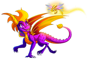 Spyro and Sparx by PlagueDogs123
